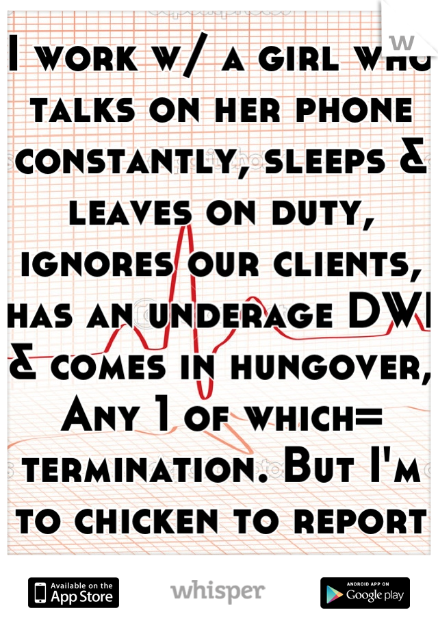 I work w/ a girl who talks on her phone constantly, sleeps & leaves on duty, ignores our clients, has an underage DWI & comes in hungover, Any 1 of which= termination. But I'm to chicken to report her.