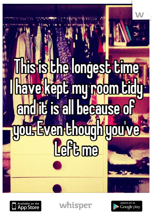 This is the longest time I have kept my room tidy and it is all because of you. Even though you've  Left me