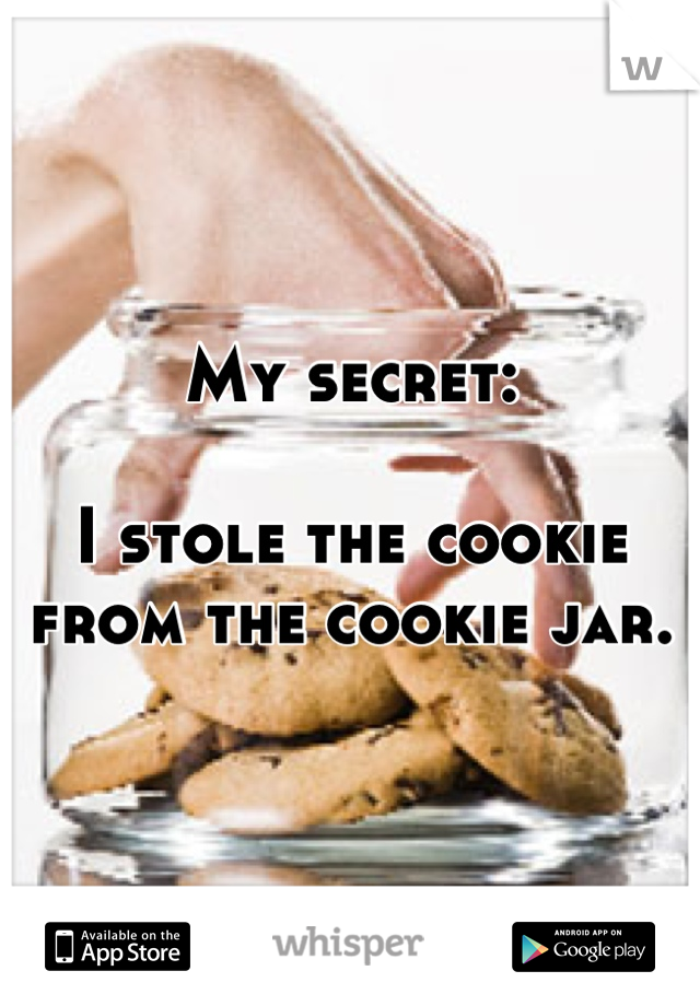 My secret:  I stole the cookie from the cookie jar.
