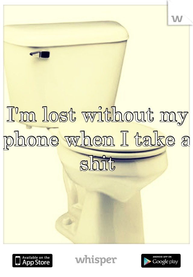 I'm lost without my phone when I take a shit
