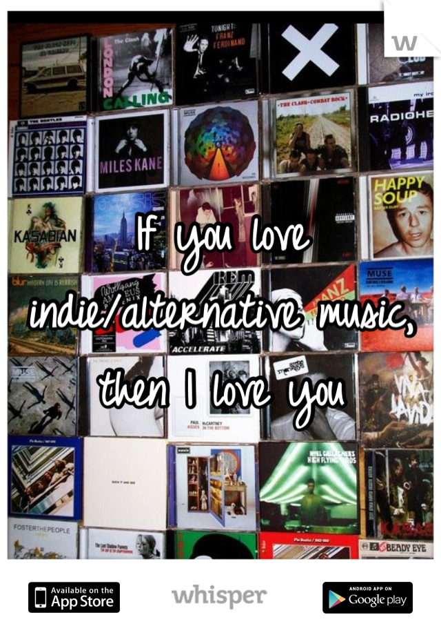 If you love indie/alternative music, then I love you