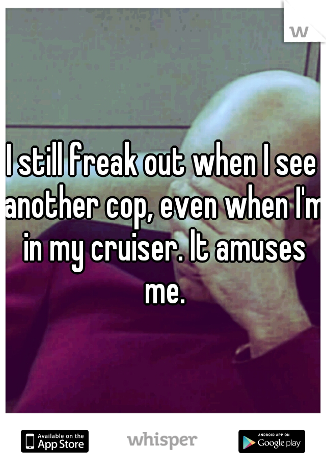 I still freak out when I see another cop, even when I'm in my cruiser. It amuses me.