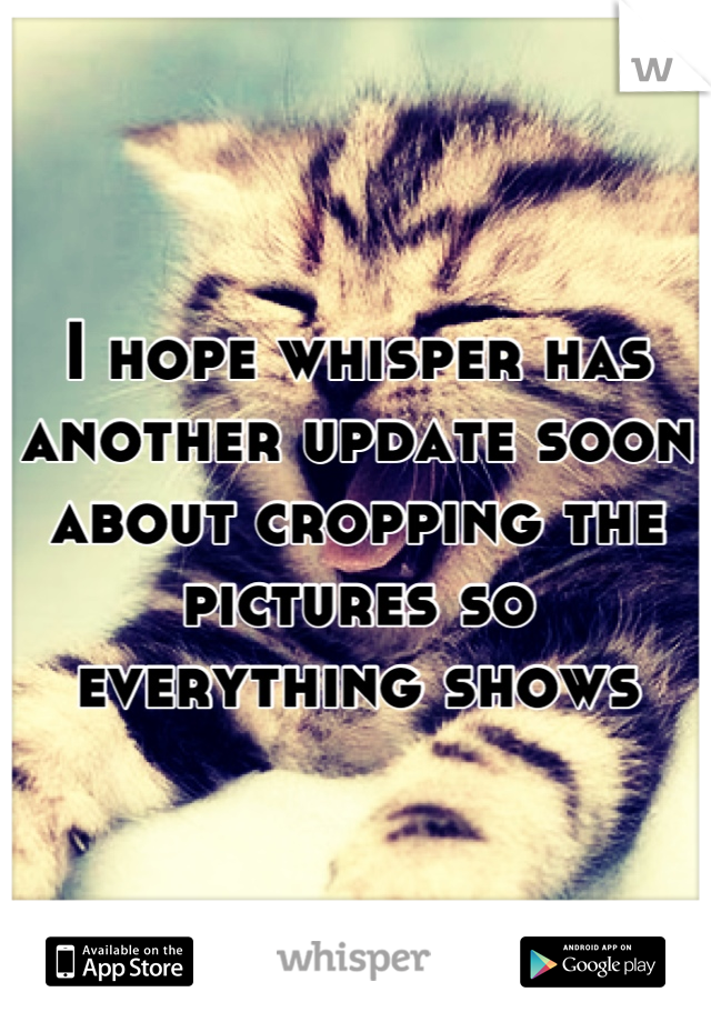 I hope whisper has another update soon about cropping the pictures so everything shows