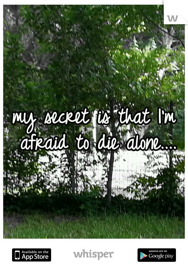 my secret is that I'm afraid to die alone....