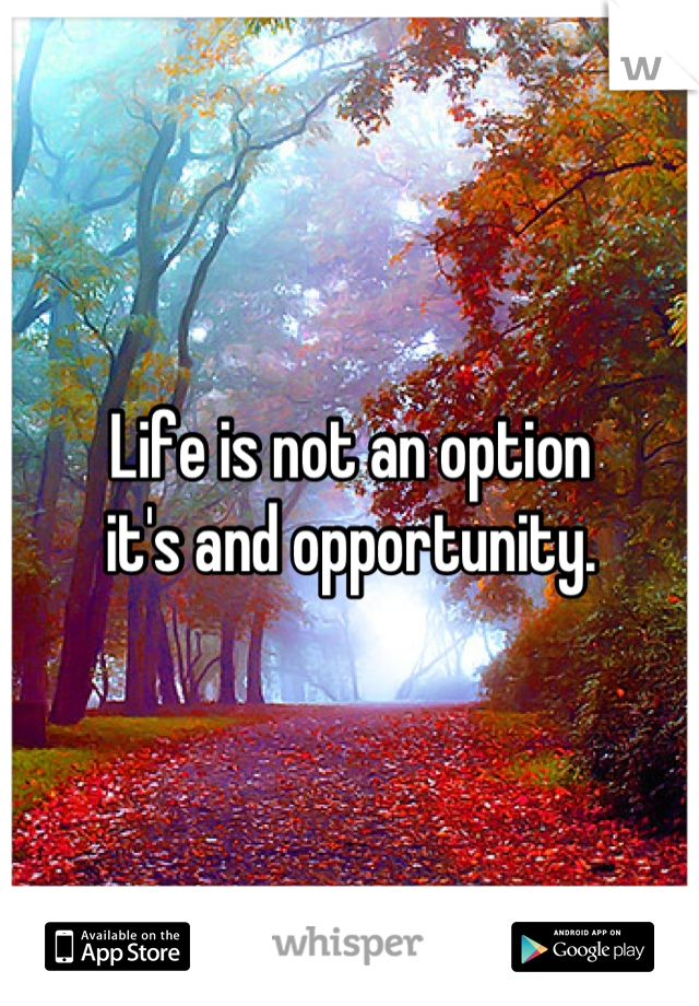 Life is not an option  it's and opportunity.