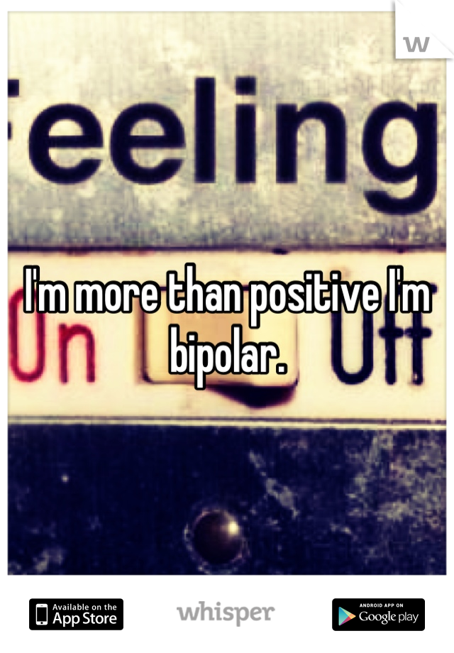 I'm more than positive I'm bipolar.