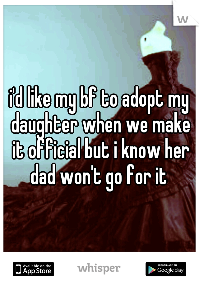 i'd like my bf to adopt my daughter when we make it official but i know her dad won't go for it