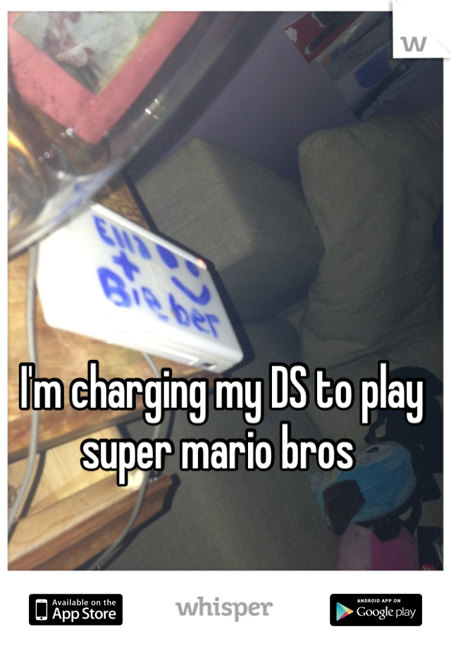 I'm charging my DS to play super mario bros