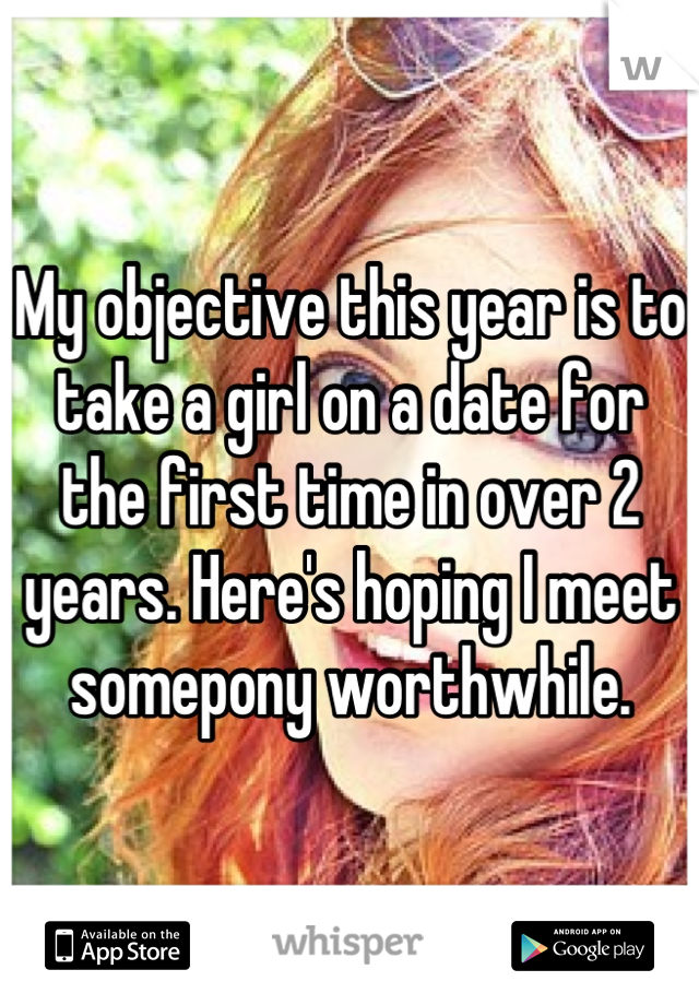 My objective this year is to take a girl on a date for the first time in over 2 years. Here's hoping I meet somepony worthwhile.