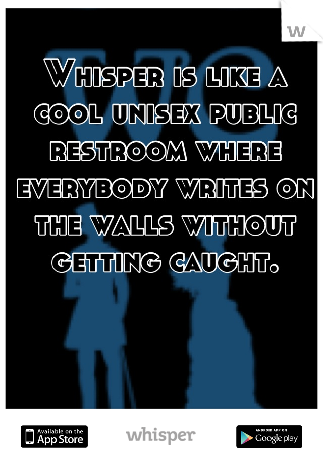 Whisper is like a cool unisex public restroom where everybody writes on the walls without getting caught.
