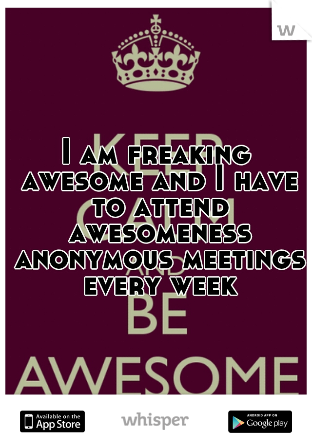 I am freaking awesome and I have to attend awesomeness anonymous meetings every week
