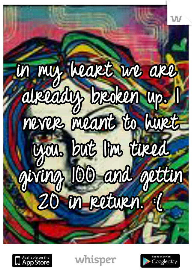 in my heart we are already broken up. I never meant to hurt you. but I'm tired giving 100 and gettin 20 in return. :(