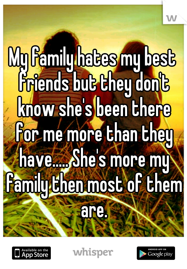 My family hates my best friends but they don't know she's been there for me more than they have..... She's more my family then most of them are.
