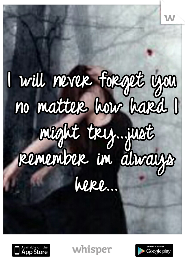 I will never forget you no matter how hard I might try...just remember im always here...