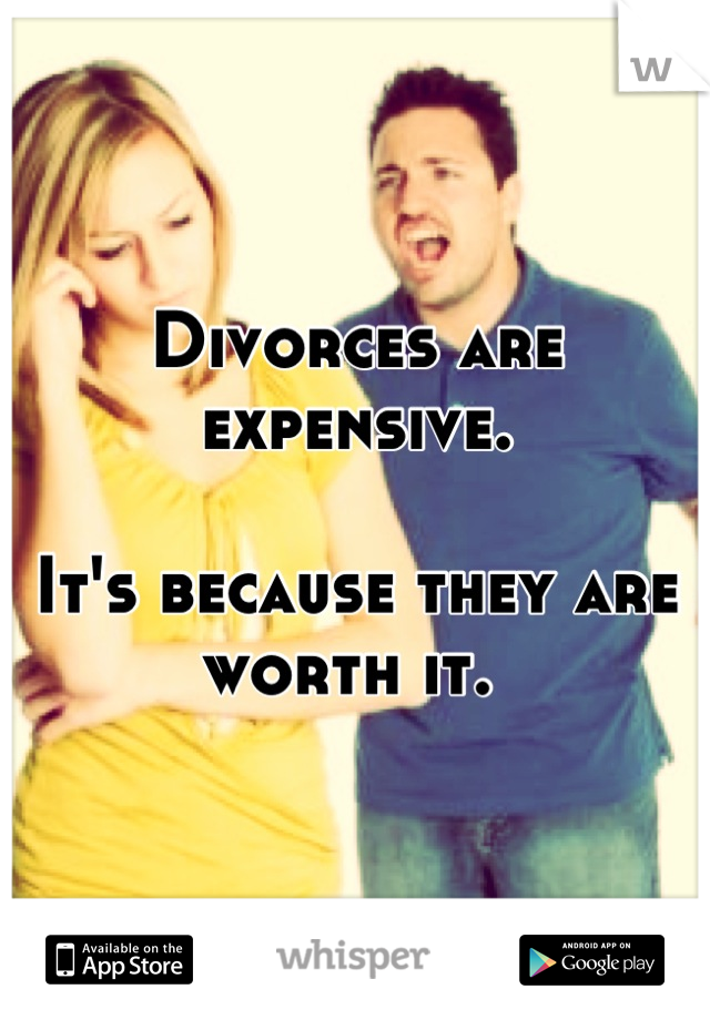 Divorces are expensive.   It's because they are worth it.