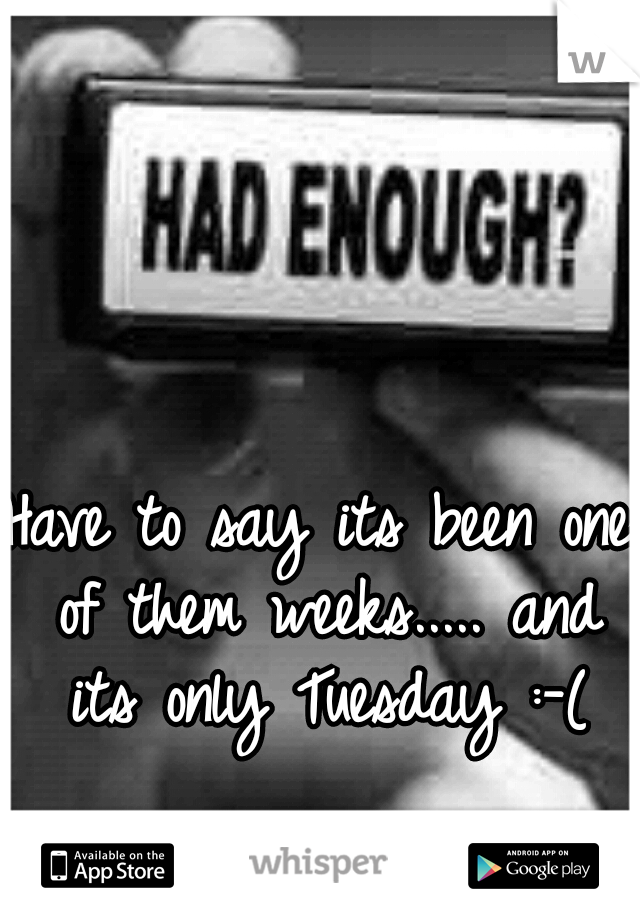 Have to say its been one of them weeks..... and its only Tuesday :-(