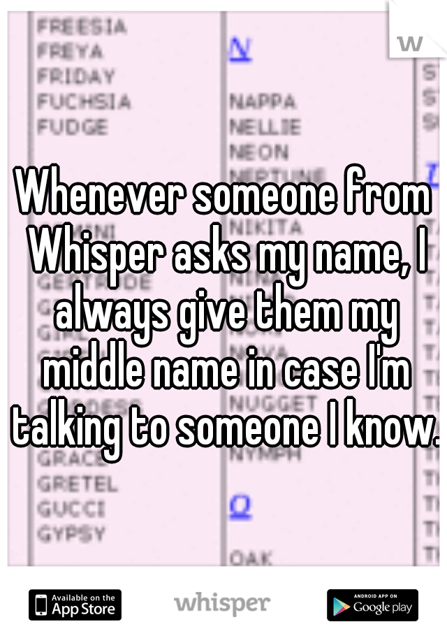 Whenever someone from Whisper asks my name, I always give them my middle name in case I'm talking to someone I know.