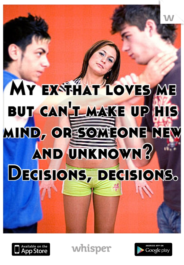My ex that loves me but can't make up his mind, or someone new and unknown? Decisions, decisions.