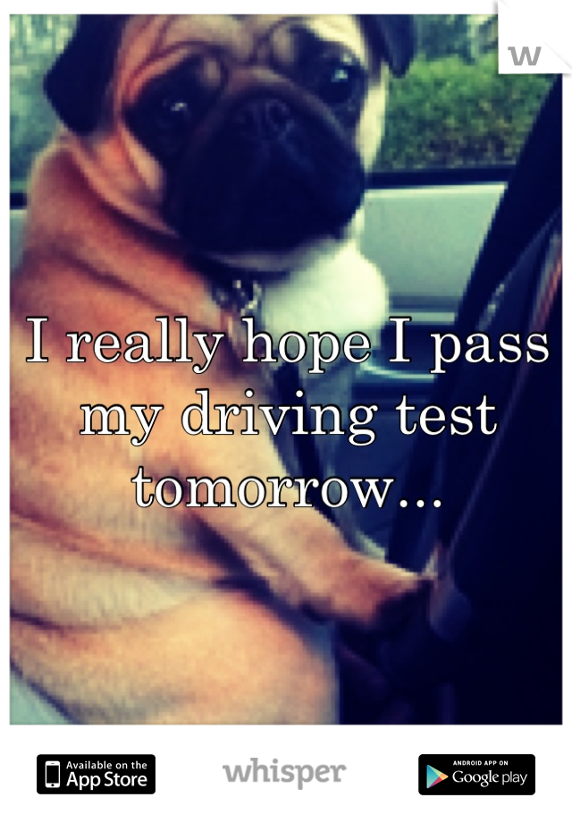 I really hope I pass my driving test tomorrow...