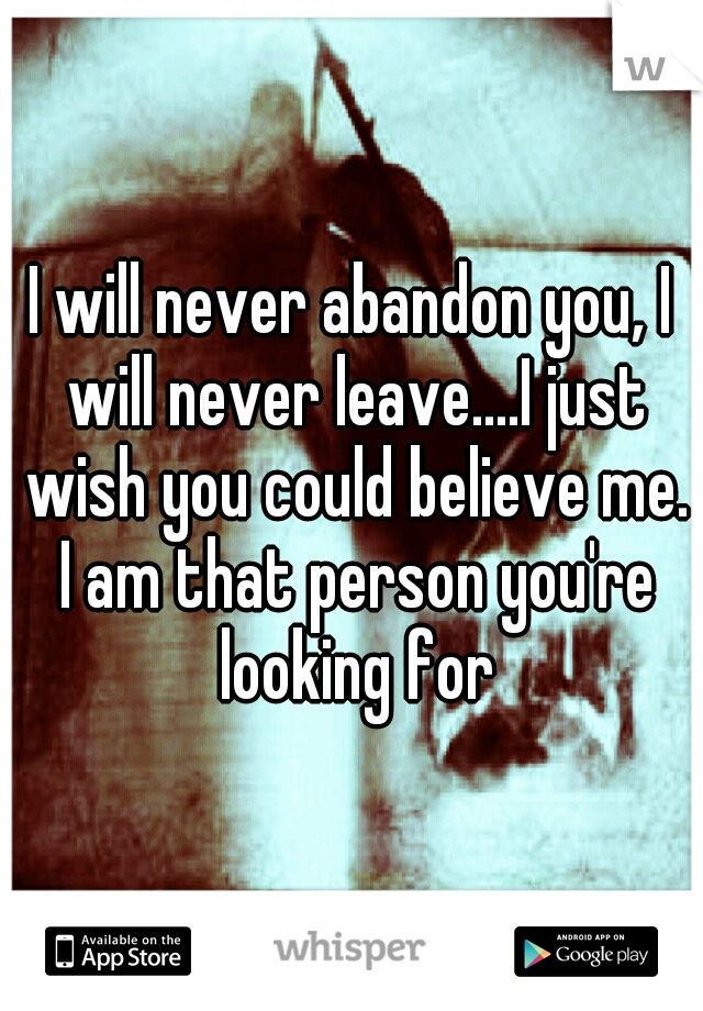 I will never abandon you, I will never leave....I just wish you could believe me. I am that person you're looking for