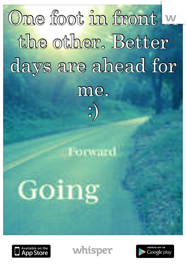 One foot in front of the other. Better days are ahead for me.  :)