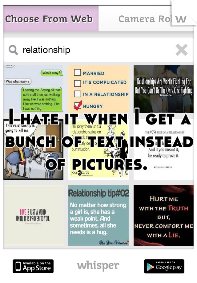 I hate it when I get a bunch of text instead of pictures.