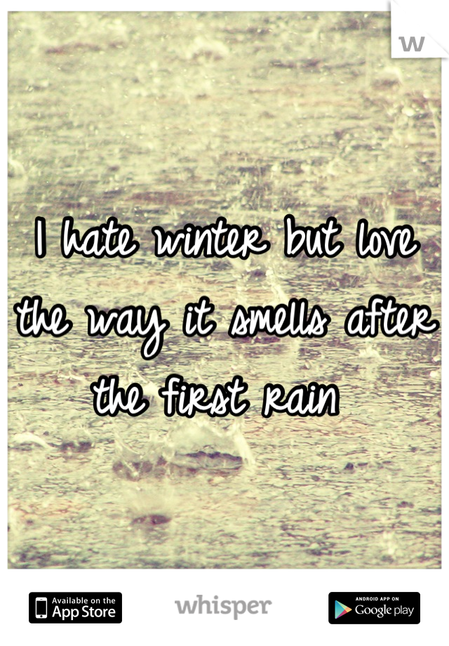 I hate winter but love the way it smells after the first rain