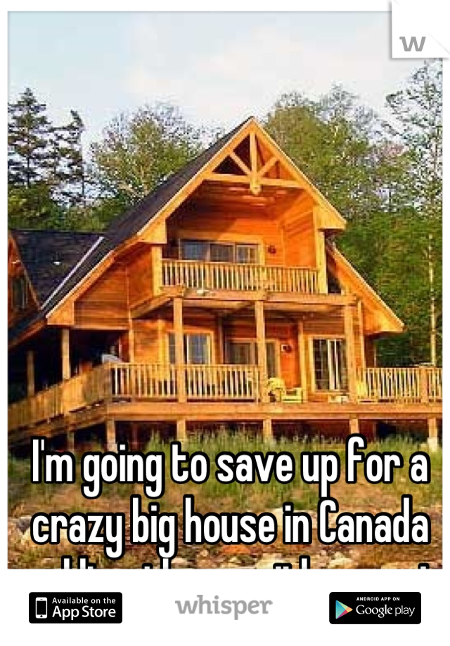 I'm going to save up for a crazy big house in Canada and live there with my cat.