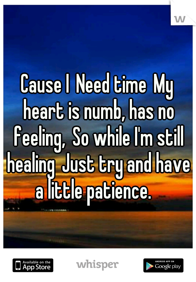 Cause I Need time My heart is numb, has no feeling, So while I'm still healing Just try and have a little patience.