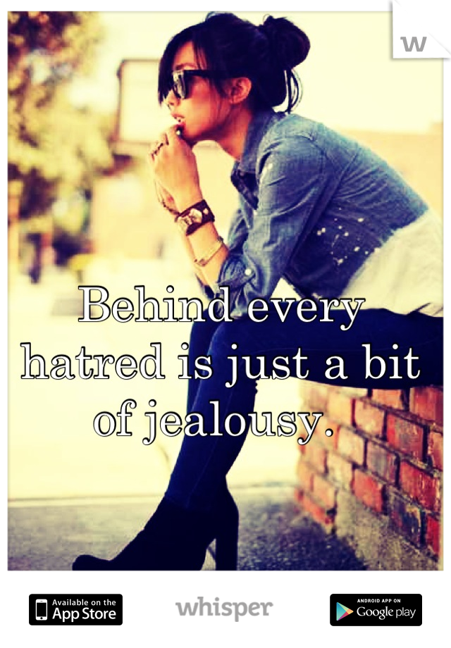 Behind every hatred is just a bit of jealousy.