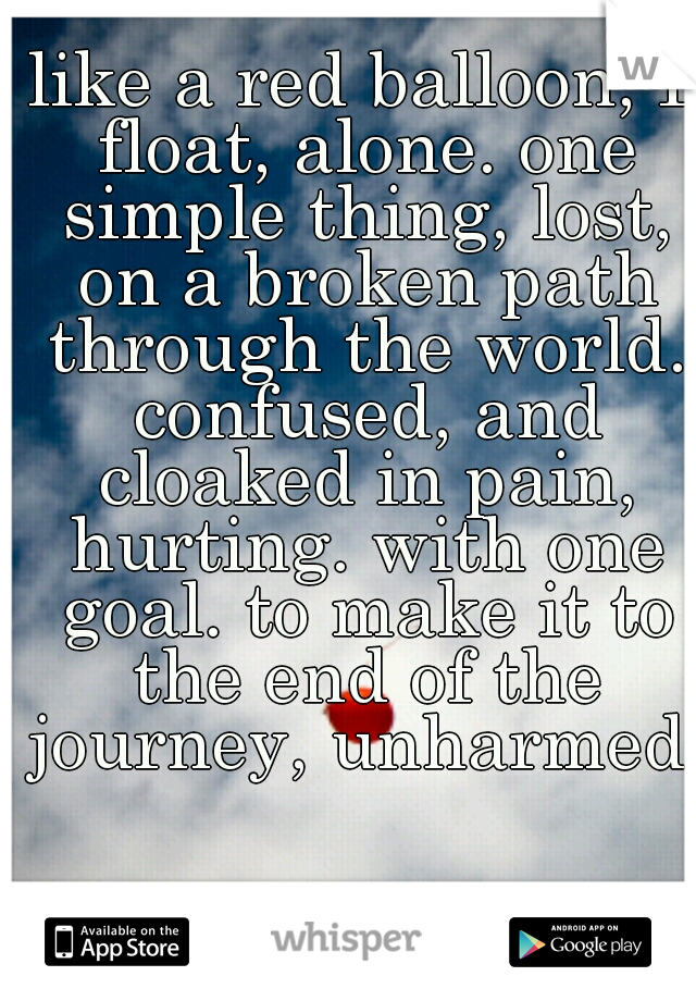 like a red balloon, I float, alone. one simple thing, lost, on a broken path through the world. confused, and cloaked in pain, hurting. with one goal. to make it to the end of the journey, unharmed.