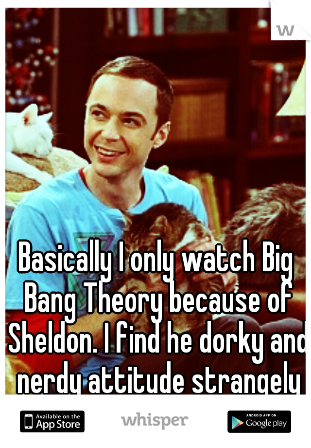 Basically I only watch Big Bang Theory because of Sheldon. I find he dorky and nerdy attitude strangely sexy.