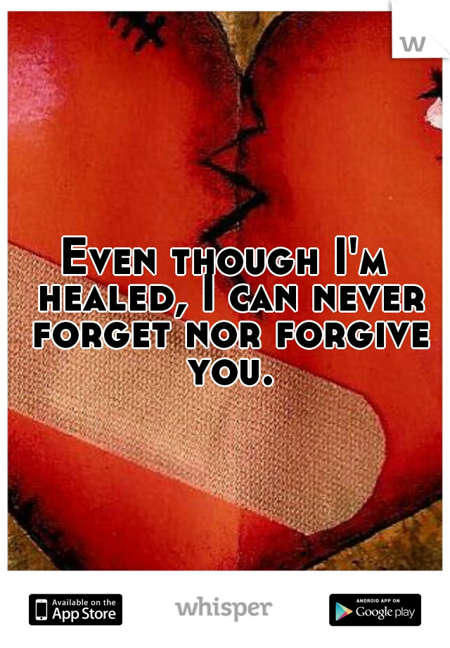 Even though I'm healed, I can never forget nor forgive you.