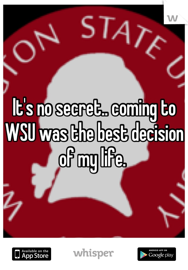 It's no secret.. coming to WSU was the best decision of my life.