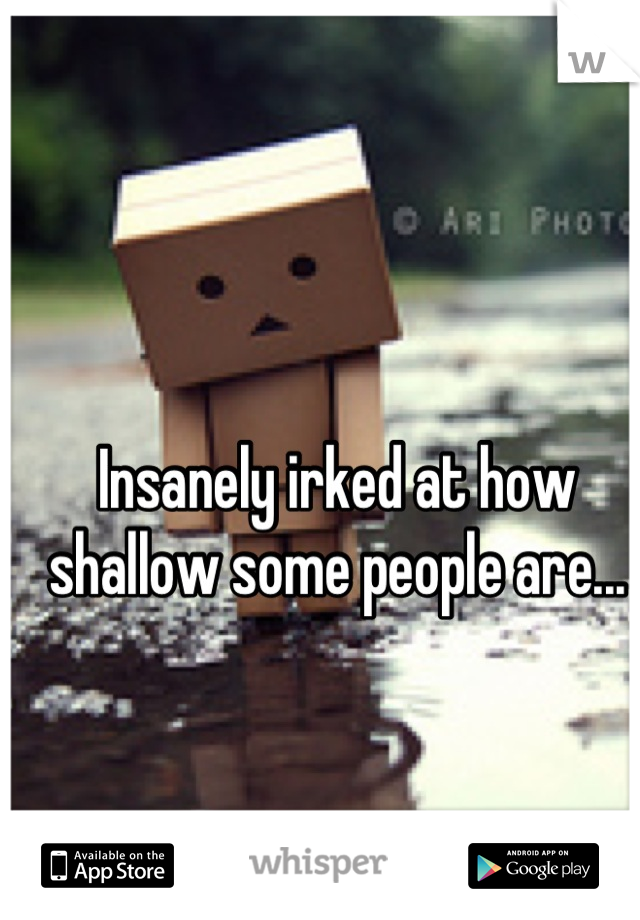 Insanely irked at how shallow some people are...