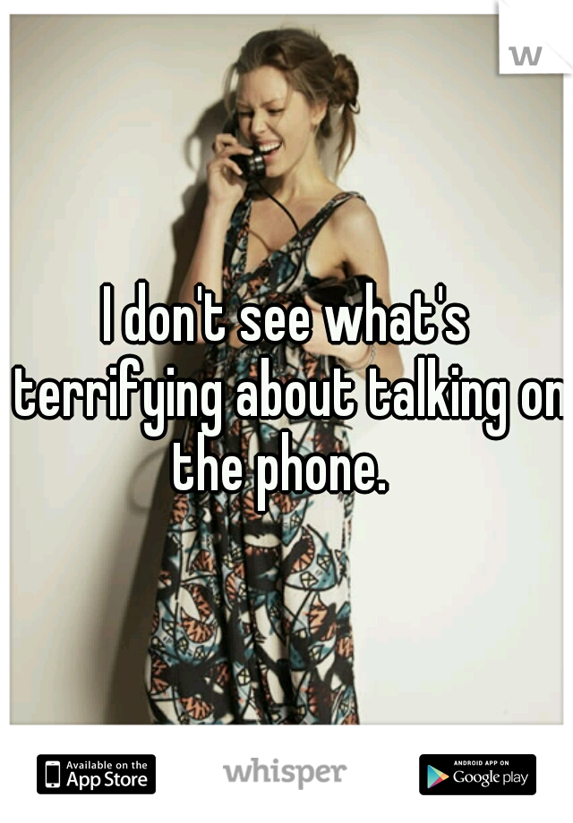 I don't see what's terrifying about talking on the phone.
