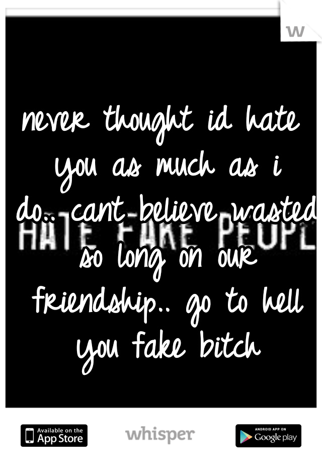 never thought id hate you as much as i do.. cant believe wasted so long on our friendship.. go to hell you fake bitch