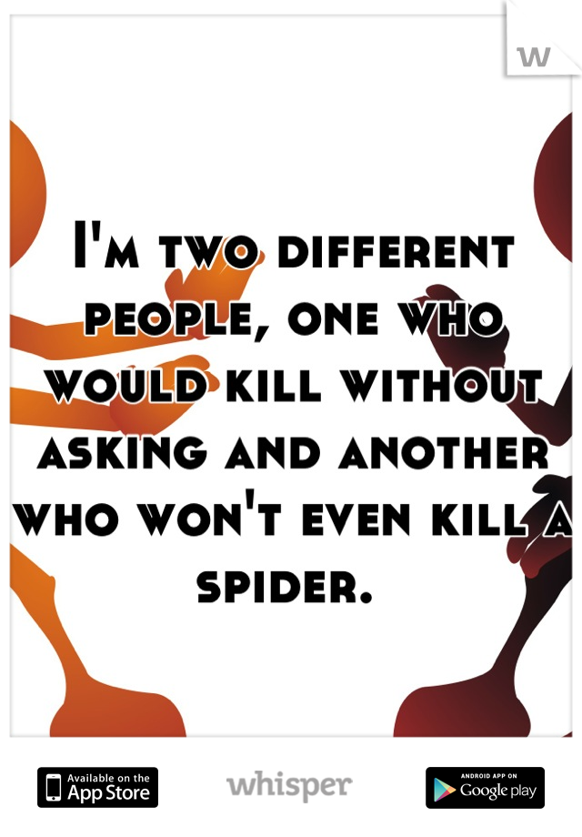 I'm two different people, one who would kill without asking and another who won't even kill a spider.