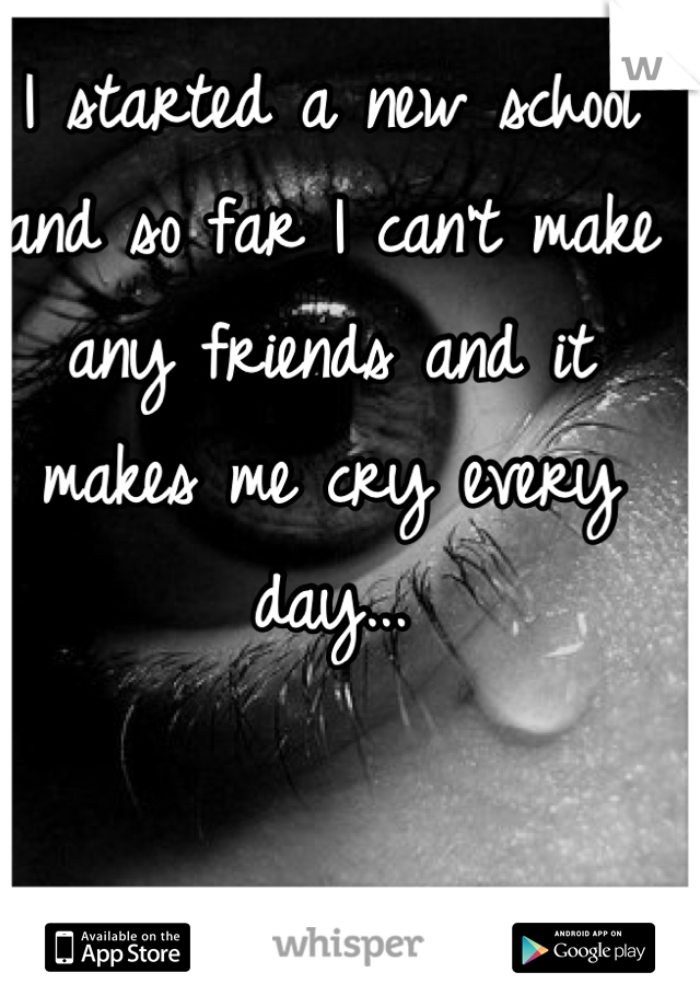 I started a new school and so far I can't make any friends and it makes me cry every day...