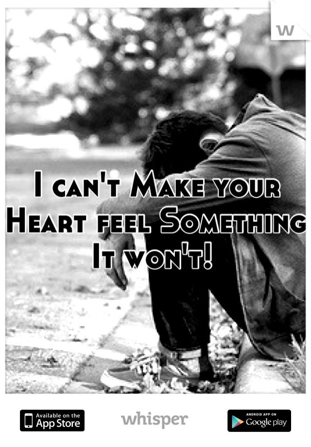 I can't Make your Heart feel Something It won't!