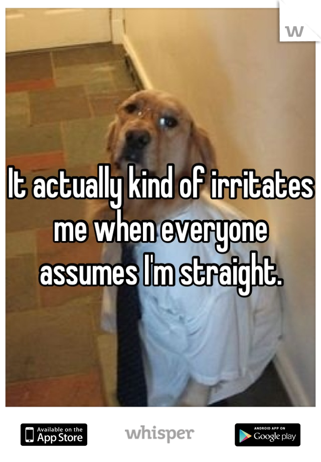 It actually kind of irritates me when everyone assumes I'm straight.