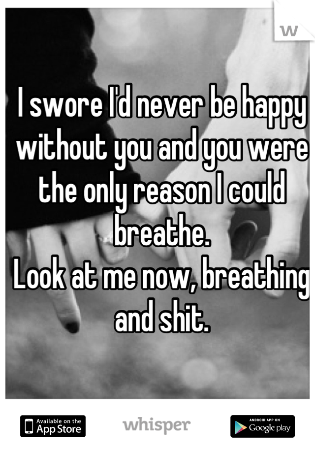 I swore I'd never be happy without you and you were the only reason I could breathe. Look at me now, breathing and shit.