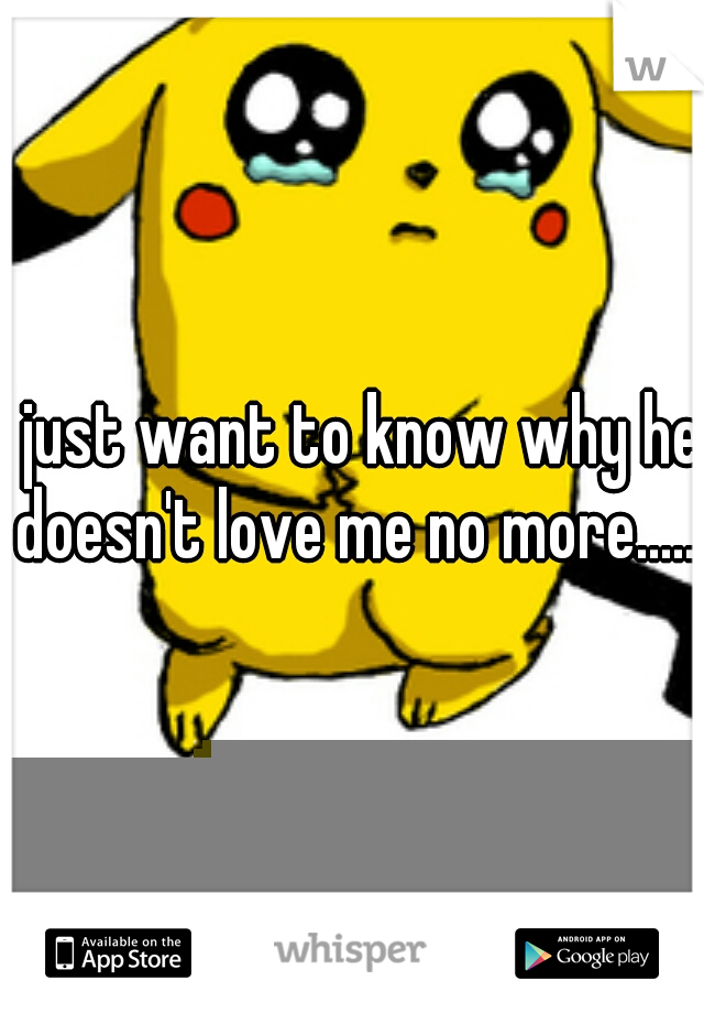 I just want to know why he doesn't love me no more.....