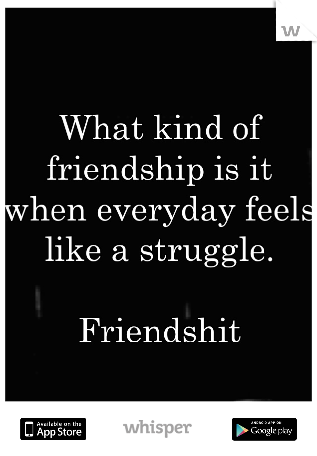 What kind of friendship is it when everyday feels like a struggle.   Friendshit