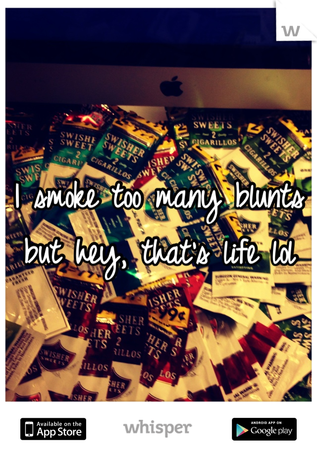 I smoke too many blunts but hey, that's life lol