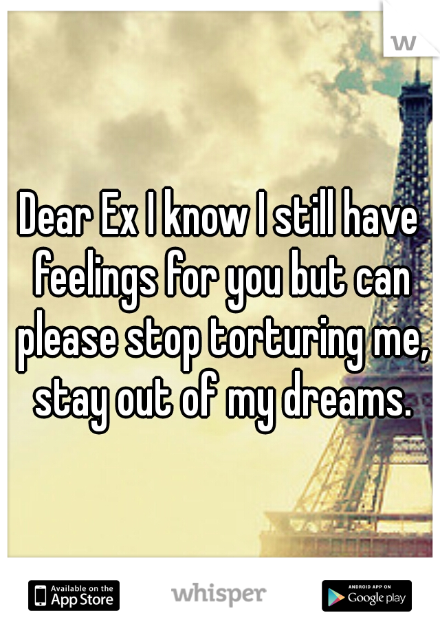 Dear Ex I know I still have feelings for you but can please stop torturing me, stay out of my dreams.