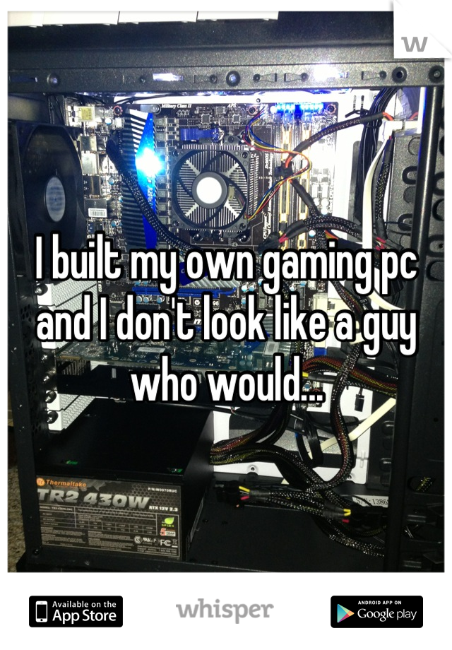 I built my own gaming pc and I don't look like a guy who would...