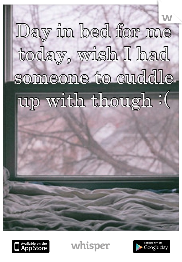 Day in bed for me today, wish I had someone to cuddle up with though :(