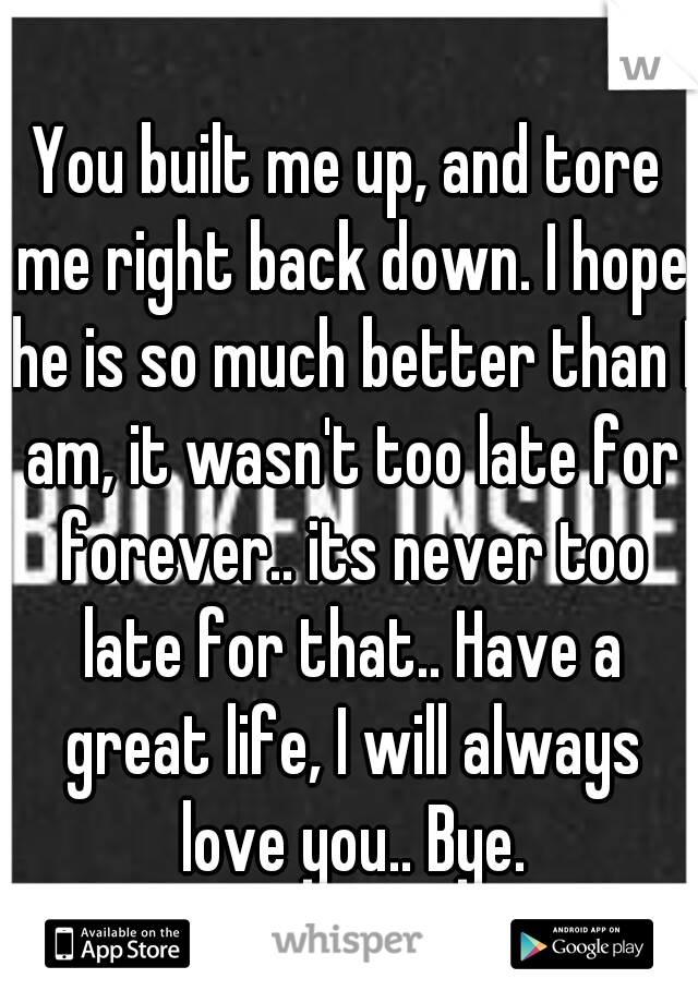 You built me up, and tore me right back down. I hope he is so much better than I am, it wasn't too late for forever.. its never too late for that.. Have a great life, I will always love you.. Bye.