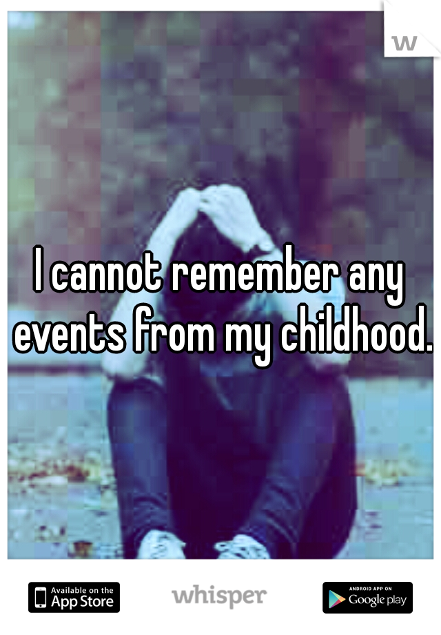 I cannot remember any events from my childhood.